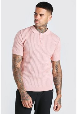 Muscle Fit Ribbed Knited Polo, Pink