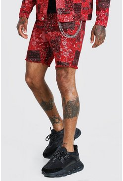 Red Bandana Print Denim Shorts