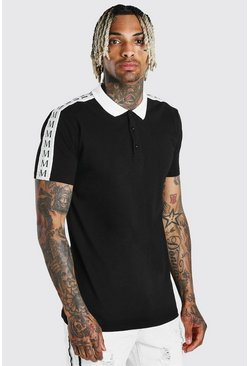 Black Muscle Fit Polo With Woven Repeat MAN Tape