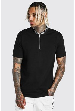 Black MAN Rib Collar Zip Polo