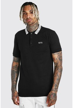 Black Muscle Fit MAN Polo With Tape Detail