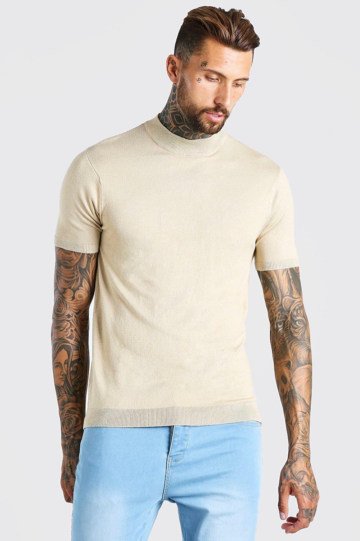 Mens Vintage Shirts – Casual, Dress, T-shirts, Polos Mens Short Sleeve Turtle Neck Knitted T-Shirt - Beige $15.60 AT vintagedancer.com