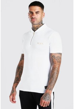 White Man Gold Muscle Fit Zip Neck Polo