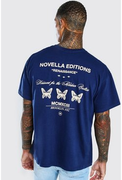 Navy Oversized Butterfly Front & Back Print T-Shirt