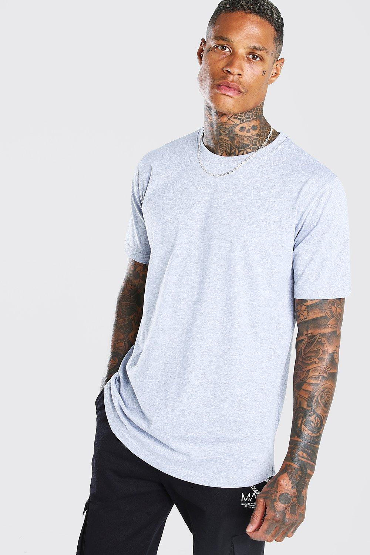 mens longline curved hem t-shirt - grey