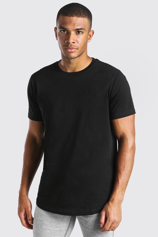 mens longline curved hem t-shirt - black
