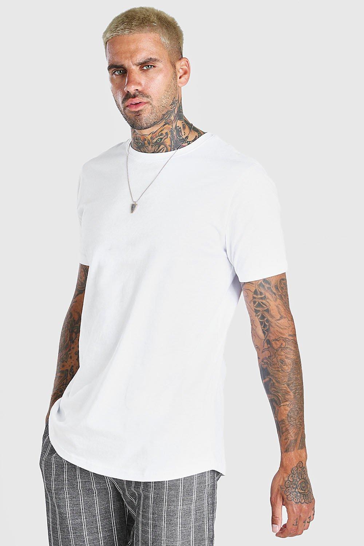 mens longline curved hem t-shirt - white