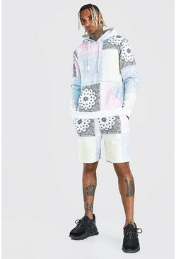 Multi Pastel Repeat Bandana Print Hooded Short Tracksuit