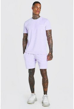 Lilac Official MAN Velour T-Shirt & Short Set