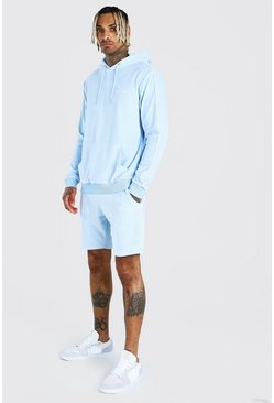 Light blue MAN Velour Short Tracksuit With Piping