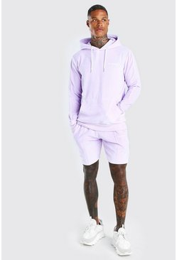 Light pink MAN Velour Short Tracksuit With Piping