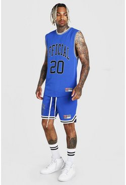 Blue MAN Airtex Tank & Basketball Short Set