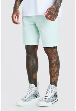 Mint Loose Fit Destroyed Hem Denim Shorts