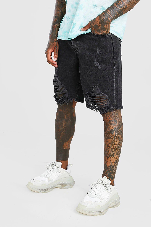 mens loose fit destroyed hem jean shorts - grey