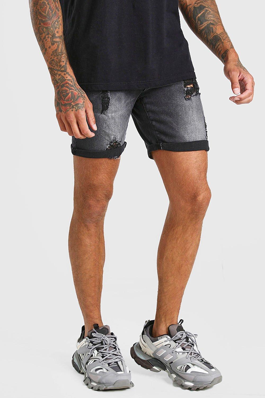mens skinny stretch distressed jean short - black