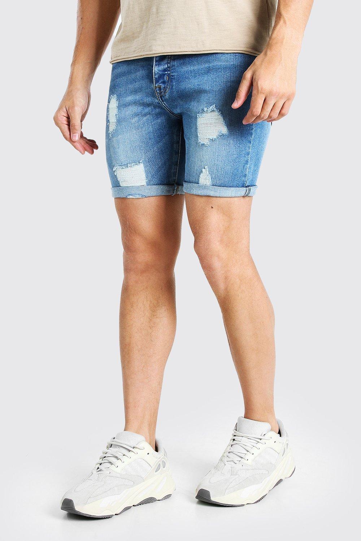 mens skinny stretch distressed jean short - blue
