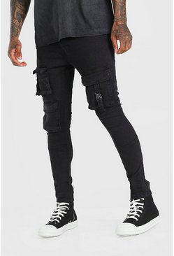 Washed black Skinny Multi Pocket Cargo Jeans