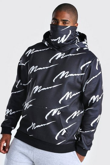 Black Big And Tall MAN Script Snood Hoodie
