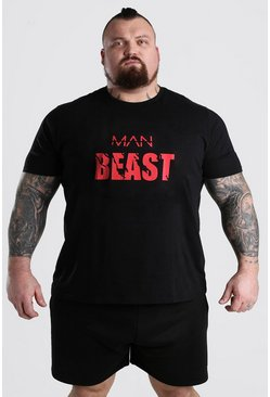 Black MAN BEAST Small Print T-Shirt