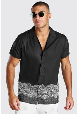 Black Short Sleeve Revere Collar Border Print Shirt