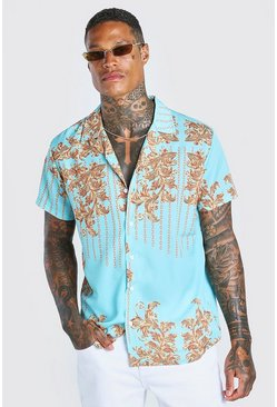Mint Short Sleeve Revere Baroque Chain Print Shirt