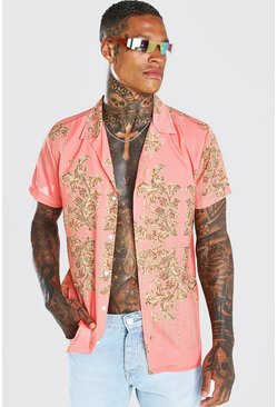 Coral Short Sleeve Revere Baroque Chain Print Shirt