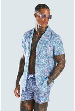 Blue Short Sleeve Revere Collar Paisley Print Shirt