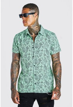 Green Short Sleeve Revere Collar Paisley Print Shirt