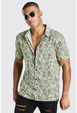 Lemon Short Sleeve Paisley Print Shirt