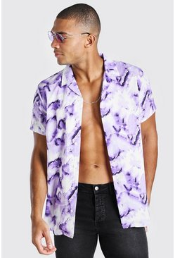 Purple Short Sleeve Revere Collar Abstract Print Shirt