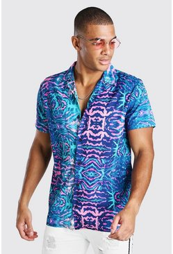 Navy Short Sleeve Revere Collar Abstract Print Shirt