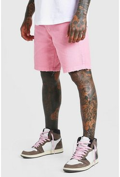 Pink Loose Fit Destroyed Hem Denim Shorts