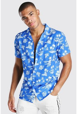 Blue Short Sleeve Revere Collar Hawaiian Print Shirt