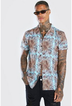 Tan Short Sleeve Revere Collar Animal Print Shirt