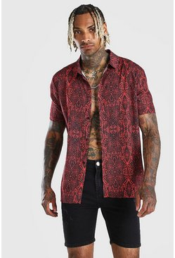 Red Short Sleeve  Snake Print Shirt