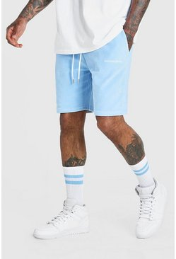 Short mi-long en velour Official MAN, Bleu clair