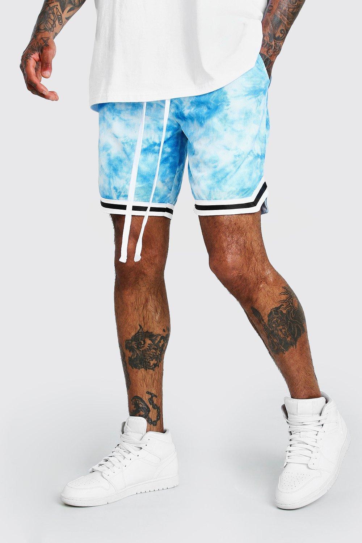 mens tie dye airtex basketball shorts with tape - blue