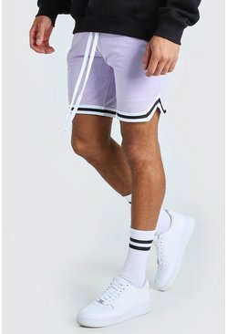 Lilac Airtex Basketball Shorts With Tape