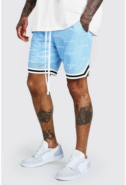Shorts de Airtex con estampado MAN Official, Azul
