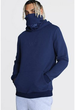 MAN Official Hoodie mit Loop-Schal, Marineblau