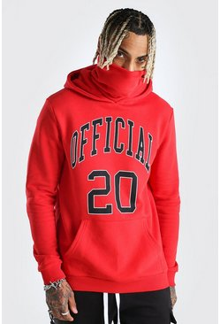 Red Official Print Snood Hoodie
