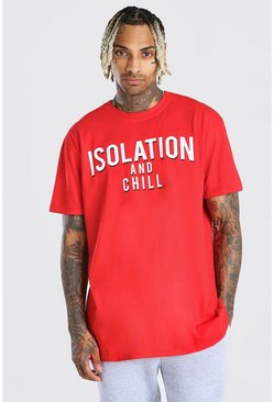 "Red ""Isolation And Chill"" Oversize t-shirt"