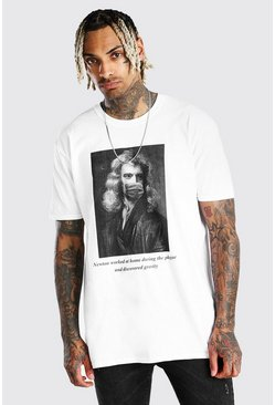 White Oversized Newton Meme T-Shirt