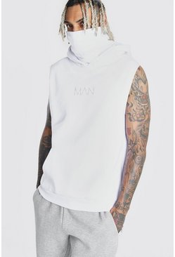 White MAN Official Sleeveless Snood Hoodie