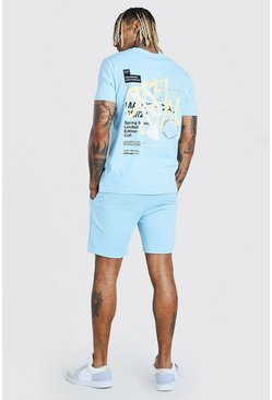 Powder blue MAN Official Graffiti T-Shirt & Short Set