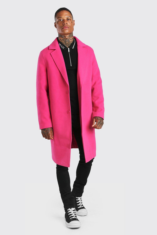 mens drop shoulder single breasted longline overcoat - pink