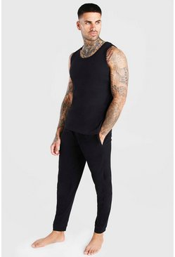 Black Vest And Slim Pant Lounge Set