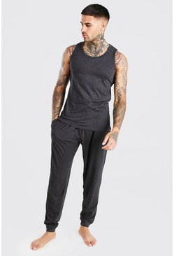 Ensemble lounge pantalon slim et débardeur, Anthracite :