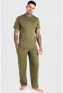 Khaki Plain Lounge Set