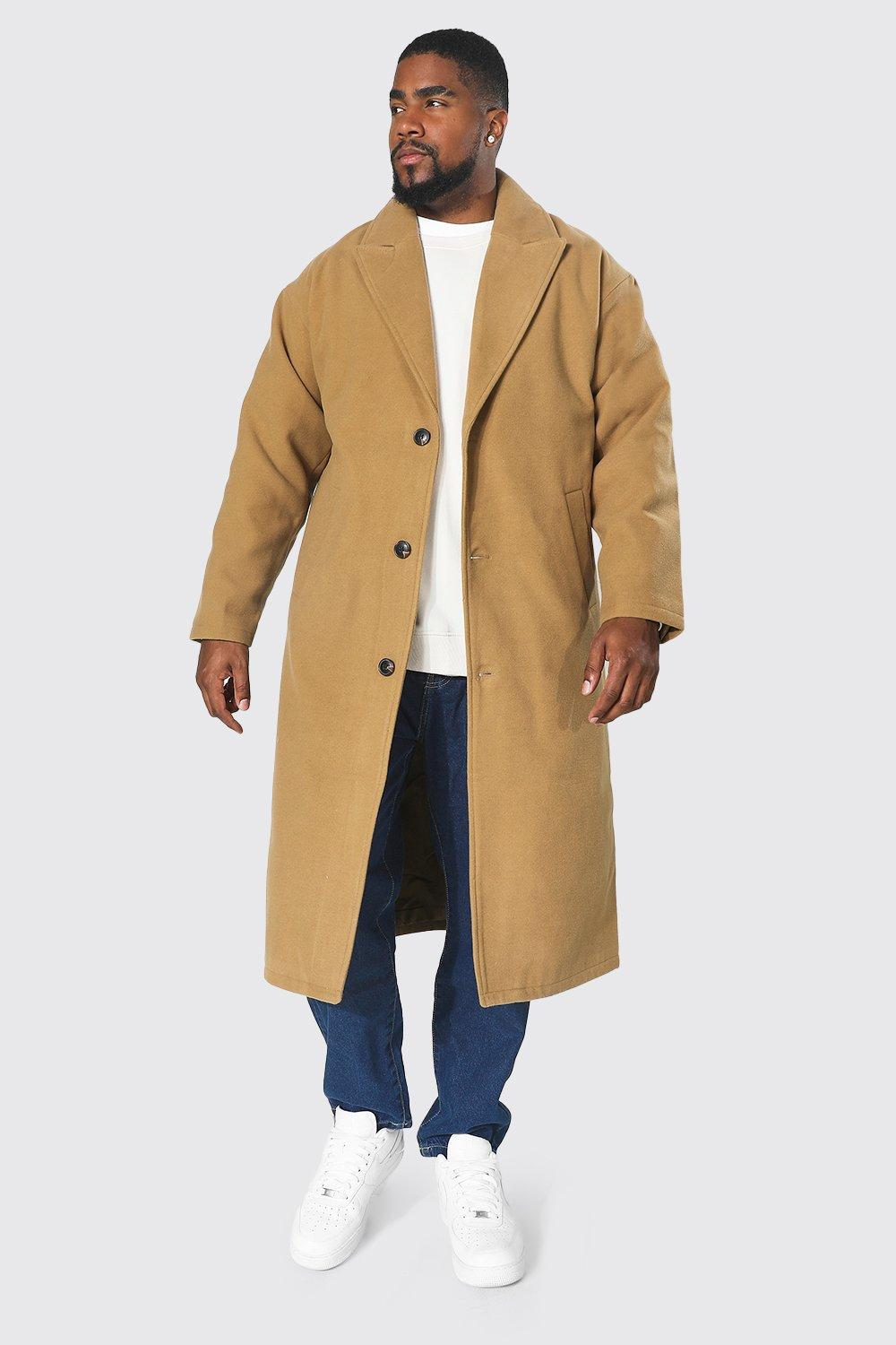 Men's Vintage Jackets & Coats Mens Plus Size Single Breasted Longline Overcoat - Beige $48.00 AT vintagedancer.com